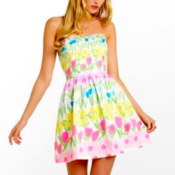 Lilly Pulitzer Payton Floral Line Tulip Dress